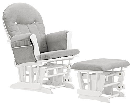 (Angel Line Celine Glider and Ottoman, White/Gray Cushion with White Piping)