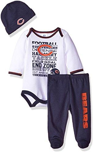 NFL Chicago Bears Bodysuit, Pants & Cap Set, 0-3 Months, Blue