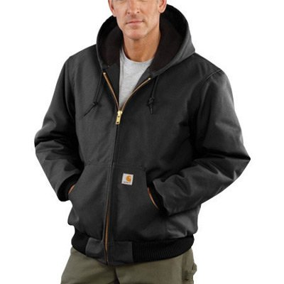 Carhartt® Large Regular Black Flannel Quilt Body Nylon Quilt Sleeves Lined 12 Ounce Heavy Weight Cotton Duck Active Jacket With Front Zipper Closure Triple-Stitched Seams (2) Lower Front Pockets And (2) Inside Pockets
