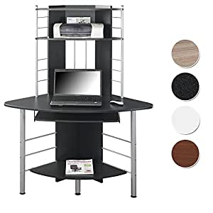 SixBros. Mesa de ordenador Mesa angular - Negro - B-1010/60 - MDF negro granito