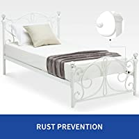 Mecor Metal Bed Frame / Mattress Foundation with Headboard / Footboard/ Wooden Slat Support ,Queen