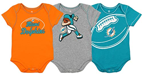 Outerstuff NFL Boys Newborn and Infant Assorted Team 3 Pack Creeper Set, Miami Dolphins 18 Months