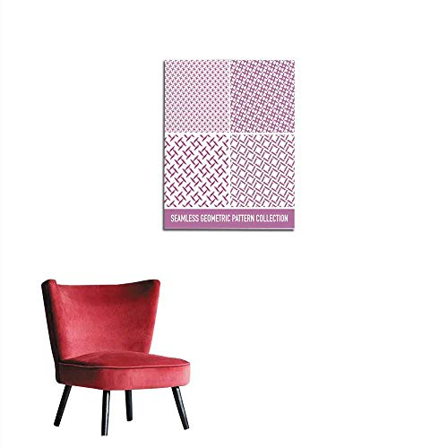 longbuyer Home Decor Wall Seamless Pink Pattern Collection from Rectangle Intersections Mural 20