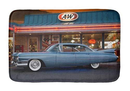 Lovestand-Doormat Welcome Mat Indoor/Outdoor Bath Floor Rug Decor Art Print with Non Slip Backing 16X24 inch 1959 Cadillac Cruiser Sedan Vintage neon Diner car Bathroom ()