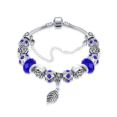 Naivo Designer Inspired Crystal Snake Chain Murano Glass Beads Charm Bracelet - Sapphire Leaf