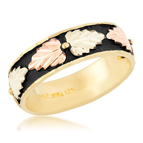 Women's Antiqued Wedding Band, 10k Yellow Gold, 12k Pink and Green Gold Black Hills Gold Motif, Size 7 by Black Hills Gold Jewelry