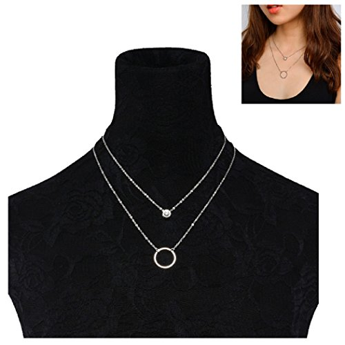 SUNSCSC Simple Tiny Choker Necklace for Women Set Crystal Bead Circle Fashion Charm Jewelry (Silver -
