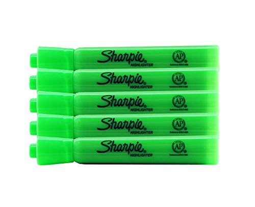 Sharpie Accent Tank-Style Highlighters, 5 Colored Highlighters, Chisel Tip (Fluorescent Green, 5-Pack)