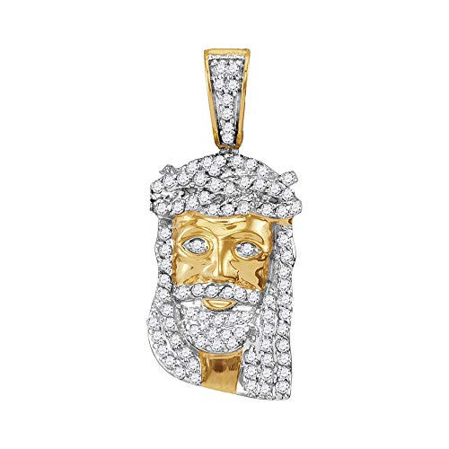 Jewel Tie Solid 10k Yellow Gold Men's Round Diamond Small Jesus Christ Messiah Head Charm Pendant (1/3 ()
