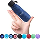 Fidus Upgraded Mini Travel Sun&Rain Windproof Umbrella - Lightweight Compact Portable Parasol Outdoor Umbrellas for Men Women Kids-Navy