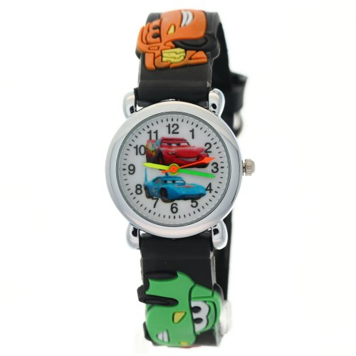 Rubber White Dial - Cartoon Black Rubber Strap White Dial Kid's Watches kids watch cars Pattern