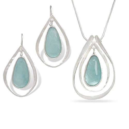 Ancient Roman Glass Earring and Necklace Set Teardrop Shape with Frame by Roman Glass Company