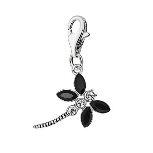 (Quiges 925 Sterling Silver Black Cubic Zirconia Abstract Dragonfly Lobster Clasp Charm Clip on Pendant)