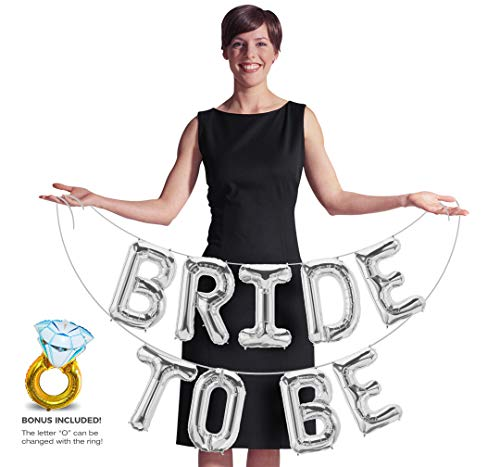 S2 Shoppe Bride to Be Banner Letters Balloons Pack Engagement Party Decorations 13 Inches of Foil Mylar Supplies Kit for Bachelorette Celebration or Bridal Shower (Silver)