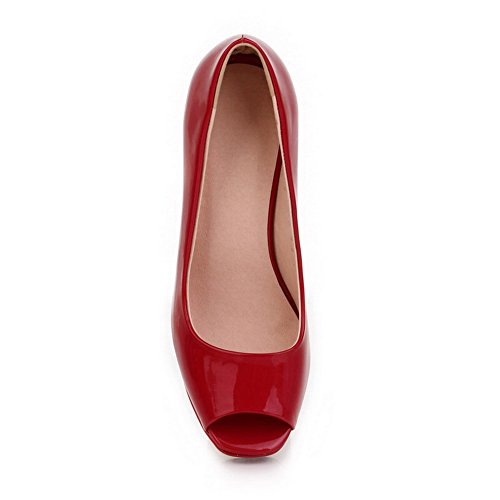 VogueZone009 Womens Open Peep Toe High Heel Platform Chunky Heels PU Patent Leather Solid Pumps Red IcOhPSh