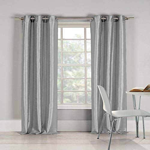 (Duck River Textiles - Bali Solid Faux Silk Grommet Top Window Curtains for Living Room & Bedroom - Assorted Colors - Set of 2 Panels (38 X 96 Inch - Silver))