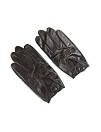 Ambesi Men's Classic Lambskin Leather Driving Gloves Dark Brown L
