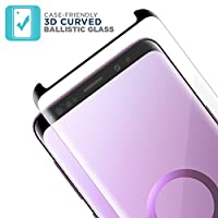 Tech Armor Ballistic Glass 3D Curved Screen Protector Designed for Samsung Galaxy S9, CASE FRIENDLY, HD Clear, Black - [1-pack] by Tech Armor
