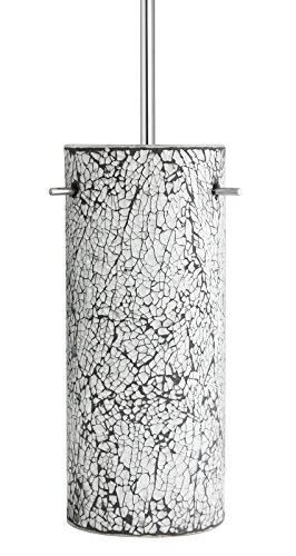 - Nicola Modern Hanging Pendant Light – Crackled Pearl Glass Cylinder - Linea di Liara LL-P415-LP