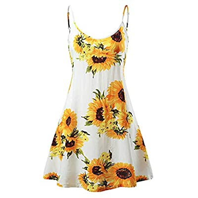 Women's Sexy Boho V-Notch Sleeveless Beach Floral Mini Dress Spaghetti Strap Swing Skater Sundress
