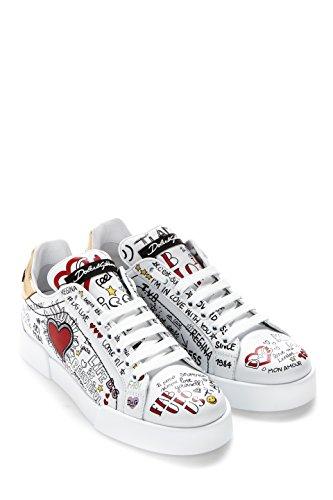 Dolce E Gabbana Damen Ck1545as864hwp52 Weiss Scarpe Da Ginnastica Leder