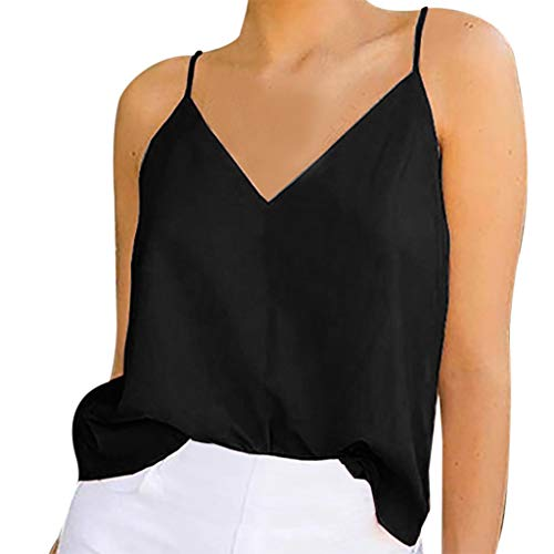 Yezijin_Women's Wear Women's Ladies Sexy V-Neck Solid Sleeveless Shirt Pullover Vest Tank Tops 2019 Women Long/Short Sleeve Black ()