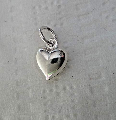 (Pendant Jewelry Making Tiny 8x7mm Sterling Silver Puffy Heart Charm)
