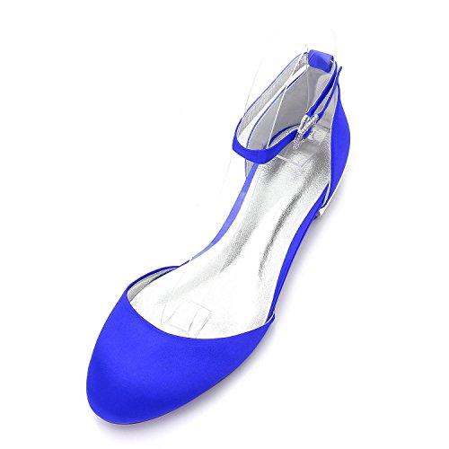 L@YC Womens Peep Toe Plissiert High Heel Lila Hochzeit Brautjungfer Schuhe Blue