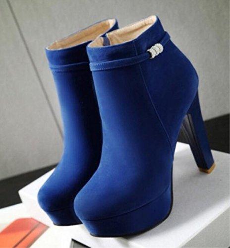 Round Ladies Size Blue 38 Platform Autumn heeled Winter Boots Waterproof High Short 34 Boots Martin Shoes 7nnAHvpx