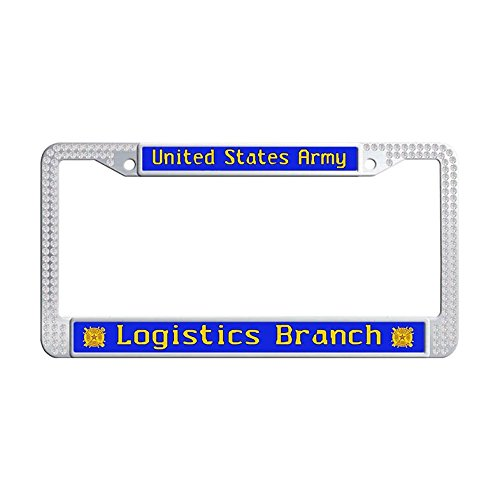 United States Army Sparkle crystal Car Licence Plate Covers,white Bling Sparkle Stainless Steel US Military Car tag frame,U.S. Army Logistics Branch Popular Glitter rhinestones License frame ()