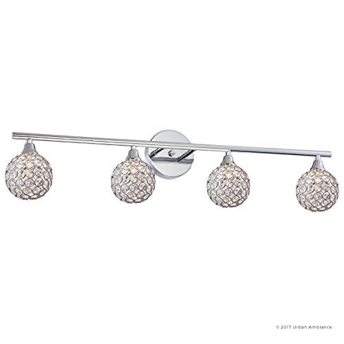 Luxury Crystal Globe LED Bathroom Vanity Light, Large Size: 8''H x 32.5''W, with Modern Style Elements, Polished Chrome Finish and Crystal Studded Shades, G9 LED Technology, UQL2632 by Urban Ambiance by Urban Ambiance (Image #7)