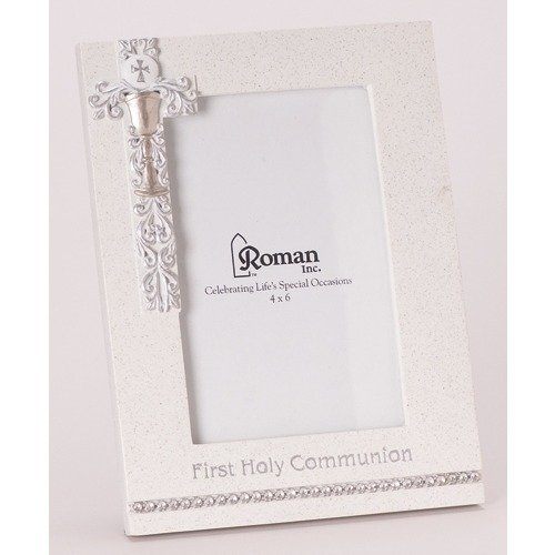 """8"""" First Holy Communion White Frame with Silver Scroll Chalice Design - Holds 4x6 Photo"""