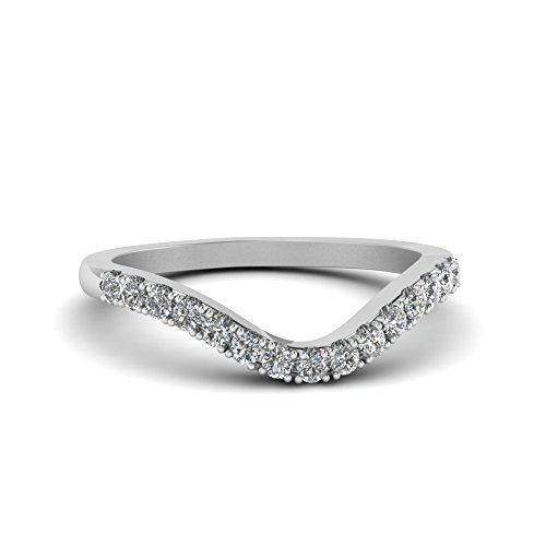RUDRAFASHION White CZ Diamond 14K White Gold Plated Custom Curved Engagement Wedding Band (Curved Womens Wedding Ring)