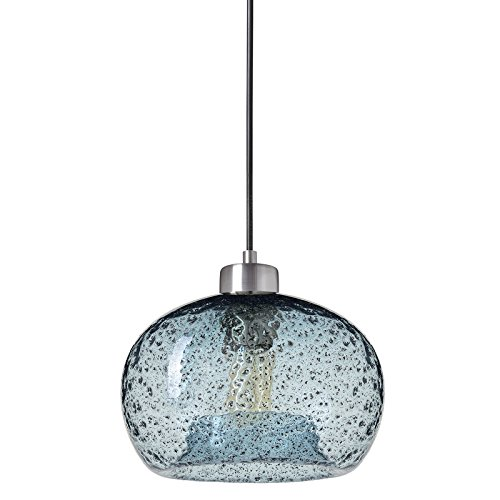 Casamotion Pendant Light Handblown Glass Drop Ceiling Lights, Rustic Hanging Light Seeded Glass with Black Sand Powder (Brushed Nickel, Light (Lamp Light Glass Pendant)