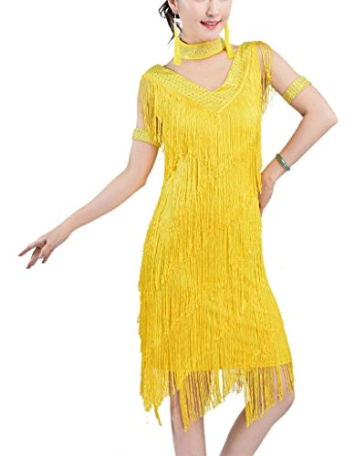 [Whitewed Tassel Great Gatsby Latin Dance Theme Party Costume Dress Outfit , Yellow, 0/2] (Latin Themed Costumes)