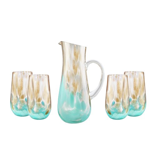 Trinkware Simone Teal Gold Decanter With Highball 5 Piece Juice Water Dinner Drink Set