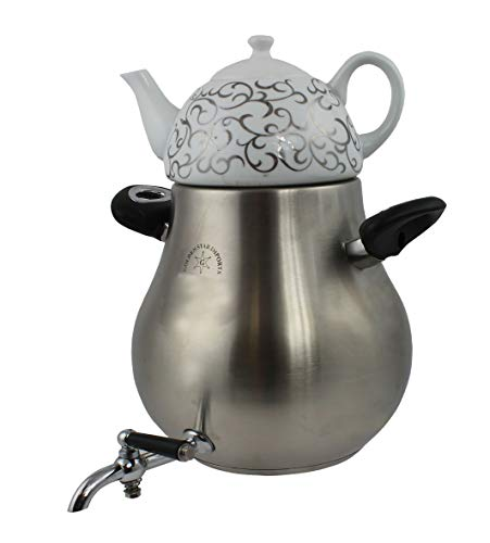 Home N Kitchenware Collection Double Teakettle Teapot Set 5.5L Stainless Steel Body + 1.0L Porcelain top, Classic & Elegant Design, Persian Turkish Russian Teakettle Teapot for Parties