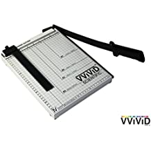 """VViViD 12"""" Guillotine Style Curved Bladeless Friction Paper Cutter w/Ruled and Gridded Base Plate"""
