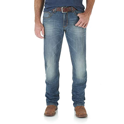 Wrangler Men's Retro Slim Fit Straight Leg Jeans, Cottonwood, 34x32