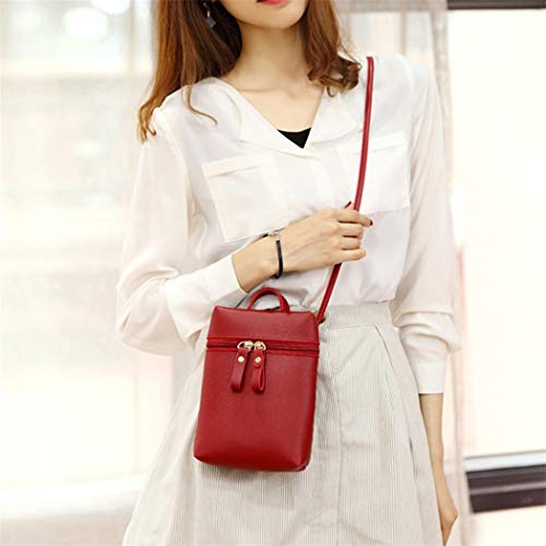 Shoulder Alixyz Color One Messenger Women Small Bag Bag Mobile Purse Candy Phone Backpack Black Wine AHHqfIa