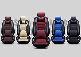 Atmungsaktiv Rutschfest QLL 5-Sitz-Universal Autositzbezug 5D Dreidimensionale Leder 5 Farben Optional,Red