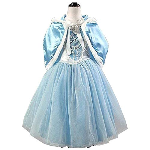 Peachi E4 Little Girl Princess Dress with Hoodie Costume Ice Frozen Blue for Age 3 to 12 Cosplay Halloween Party (140 (Age 8-10))