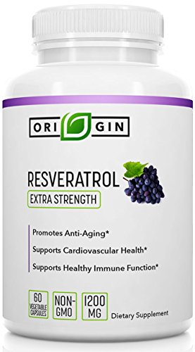 Origin Labs Resveratrol Supplement with Acai Berry, Green Tea, and Grape Seed Extract - 1400mg per Serving Maximum Strength Anti-Oxidant, Immune, Anti-Aging Supplement. 60 Capsules.