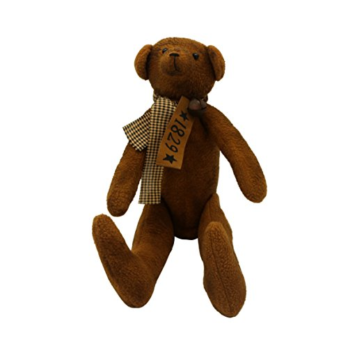 """CVHOMEDECO. Vintage Grungy Stuffed Bear Ornament with Rusty Bell Collar. 17"""" L X 11"""" H from CVHOMEDECO."""