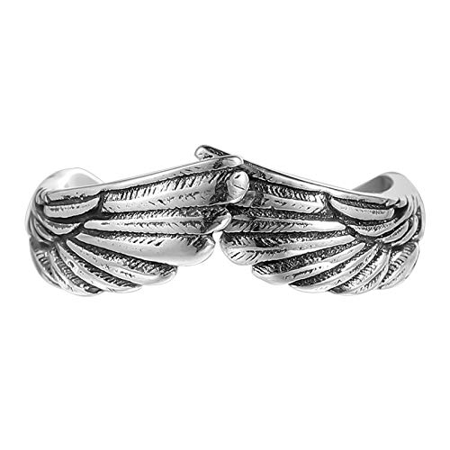GAGAFEEL Antique 925 Sterling Silver Couple Ring for Women Men Feather Angel Wing Mens Rings Silver Wedding Band Vingage Open Promise Rings for Couples Adjust Size 6-13 (S: Adjust Sizes 6-11)