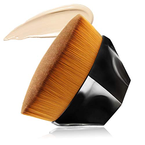 Foundation Makeup Brush Flat Top Kabuki Hexagon Face Blush Liquid Powder Foundation Brush for Blending Liquid, Cream or Flawless Powder Cosmetics with Bonus Protective Case (Black) ...