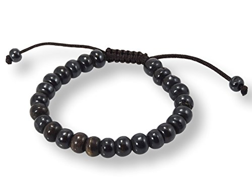 Hands Of Tibet Tibetan Mala Dark Yak Bone Wrist Mala/Bracelet for Meditation -