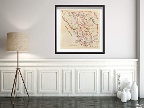 - Map|Guide Book, Sonoma, Marin, Lake, and Napa Counties. 1896|Vintage Fine Art Reproduction|Size: 24x24|Ready to Frame