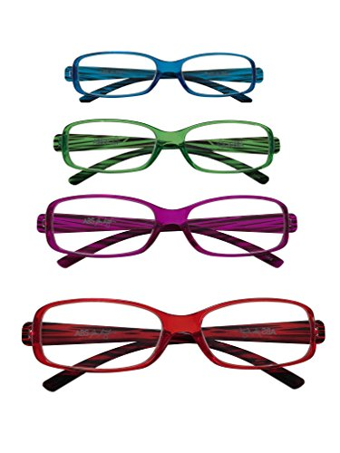 ABS by Allen Schwartz High Quality Reading Glasses - Four Pack Featuring Stylish Designs - Green / Blue / Purple / Red - - Optics Review Purple