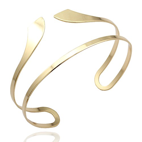 Gold Tone Q&Q Fashion Egypt Bar Curve Geo Open Upper Arm Cuff Armlet Armband Bangle Bracelet Gift